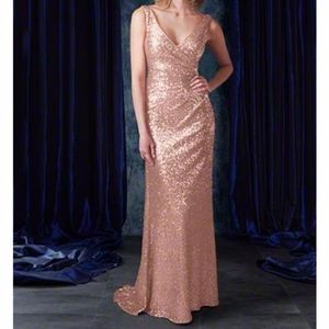 Alfred Angelo Rose Gold Sequin Long Gown Dress 4